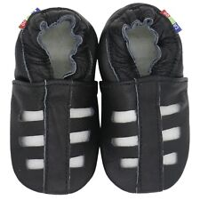 carozoo sandals black 5-6y soft sole leather baby