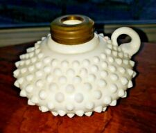 Old Fenton Milk Glass Applied Handle Hobnail Oil / Courting Lamp BIN * Offer