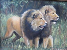 70'S SIGNED TWO LIONS OIL PAINTING RUTH BROWN COLLECTION CAT PORTRAIT JUNGLE