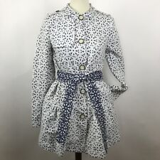 Elevenses Anthropologie Womens 2 Eyelet Pea Trench Coat Jacket Blue White Belted
