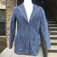 Faconnable Womens Jean Jacket Size Small Blue Denim Blazer Long Sleeve