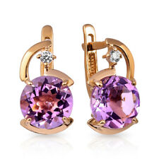 NEW Russian fine jewelry Solid Rose gold 14K 585 earrings woman amethyst 2.89g