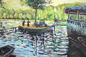 Vintager European gouache painting landscape reproduction