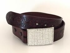 "Burgundy Leather Belt Bling Rhinestone Handtooled In Mexico 36"" Men or Women"