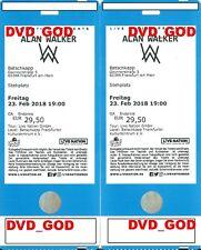 2 Tickets Karten ALAN WALKER Frankfurt Freitag 23.02.2018 Stehplatz Stehplätze