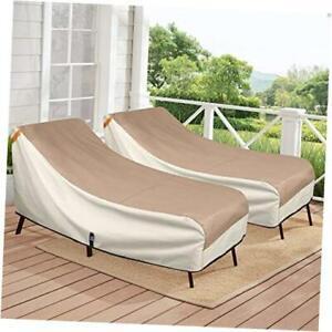 "Patio Chaise Lounge Chair Cover  2 Pack - 84""W x 32""D x 34""H Light Tan & Khaki"