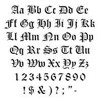 STENCILS CRAFTS TEMPLATES SCRAPBOOKING OLD ENGLISH ALPHABET  STENCIL - A4 MYLAR