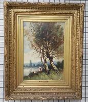 Auguste Emile PINCHART Tableau Huile sur Carton XIXe 19e Pecheurs du Lac Art