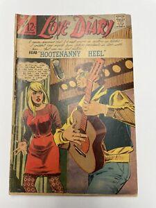 """LOVE DIARY #45 VF-, Dick Giordano cover, """"Hootenanny Heel"""" Charlton romance '66"""