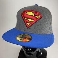 New Era 59Fifty DC Comics Superman Hero Melton Hat Cap Grey Blue 6 7/8 NEW