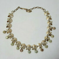 Vintage Gold Tone Necklace Art Deco w/ Glass Rhinestones Clear Amber Green