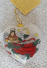 Li Bien Hand Painted Glass Christmas Ornament Angel Heart Shaped 2000