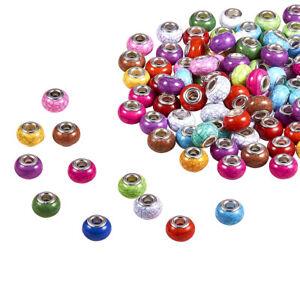 100pcs Imitation Turquoise Acrylic European Beads Large Hole Rondelle 14mm