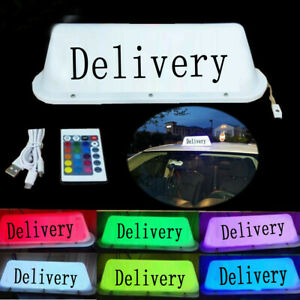 Delivery Sticker Taxi Top Light LED Roof Bright Glowing Car Logo Wireless TOP 5v