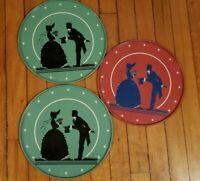 Victorian Couple Silhouette Serving Trays Vintage Round Set of 3