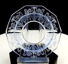 "CAMBRIDGE GLASS DECAGON CLEO ETCHED LIGHT BLUE 3 5/8"" CRANBERRY BOWL"