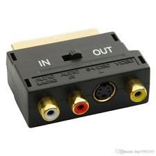 Adattatore SCART AV BLOCCO A 3 Phono composito o S-Video IN / OUT INTERRUTTORE ORO