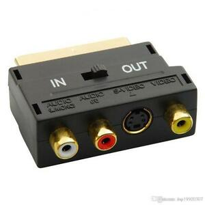 SCART Adaptor AV Block To 3 Phono Composite or S-Video With In/Out Switch GOLD