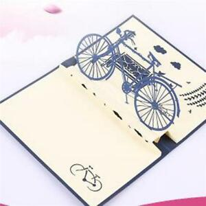 3D Laser Nostalgia Bicycle Greeting Card Popup Postcard Birthday Gift Cards FM