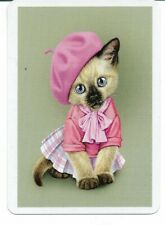 CD-29 swap playing card MINT cond SIAMESE CAT DRESSED IN PINK CLOTHING