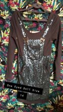 👀 ONE EYED DOLL Cute Dungaree Pattern Glitter Stud Long Top UK 14 👀 Cute