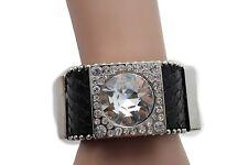 Women Black Leather Bracelet Jewelry Silver Glass Rhinestone Bead Metal Squares