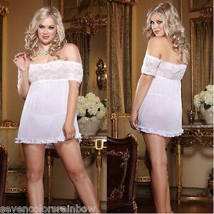 PLUS SIZE 2pc white bridal stretch mesh off shoulder LINGERIE OS Queen D7990
