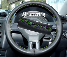 FOR MERCEDES E CLASS 95-99 ITALIAN LEATHER STEERING WHEEL COVER GREEN STITCH