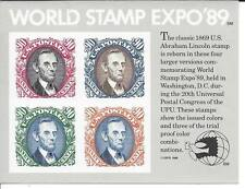 2433 Souvenir sheet of 4 90cent World Stamp Expo 1989 Abe Lincoln