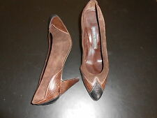 ANDREA PFISTER BROWN SUEDE WITH LIZARD TRIM PUMPS--SIZE 7