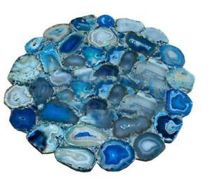 "30"" Blue Natural Agate Coffee Table Top Pietradura Handmade Work home decor"