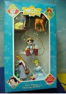 5 Mini Disney Ornaments Bambi Pinocchio Sleeping Beauty Snow White Cinderella