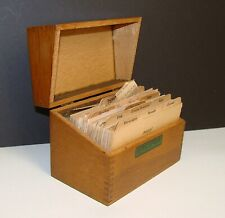 Vintage Wood Recipe Box with Recipes Handwritten Cards Dividers