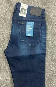 New Lee Rider Slim Stretch Jeans Denim Blue Mens W32 L32 #608