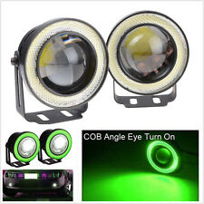 "Universal Green 2.5"" Projector COB LED Car Fog Light Halo Angel Eyes Rings DRL"