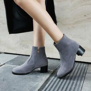 Womens Ladies Zipper Faux Suede Ankle Riding Boots Block Heels Shoes Plus Size
