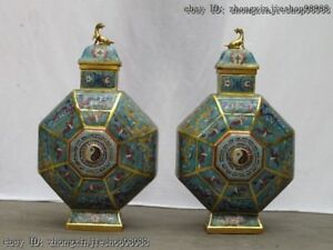 Royal 100% Pure Bronze Gild cloisonne Dragon Bat Tai Chi Pot Crock Vase pair