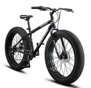 Mongoose Malus Adult Fat Tire Mountain Bike 26-Inch Wheels 7-Speed Twist Shif...