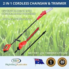 Cordless Electric Pole Chainsaw & Branch Trimmer w/- Extension Pole Li-ion Batt