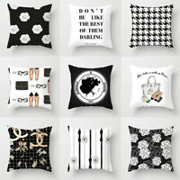 Simple Black & White Pillow Case Fashion Flower Perfume Home Cushion Cover UK