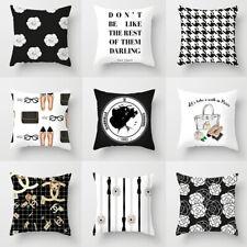 Simple Black & White Pillow Case Fashion Flower Perfume Home Cushion Cover UK
