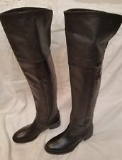 New Geox Respira Black Leather Over The Knee Thigh Hi Women Riding Boots 35 US 5