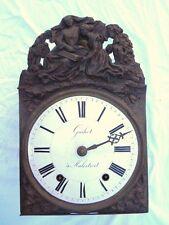 Mouvement mécanique horloge comtoise pendule décor religieux d'époque 19eme