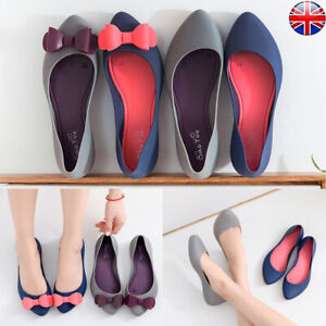 WOMENS LADIES PUMPS BALLERINA JELLY BOW DOLLY SUMMER SANDALS SHOES CASUAL SIZE