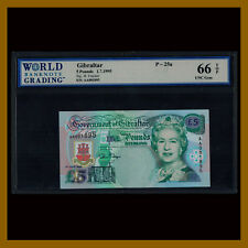 Gibraltar 5 Pounds, 1995 P-25a (4 Digit Serial #) Queen Elizabeth II WBG 66 TOP