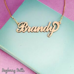 14k Solid Yellow Gold Personalized Name Necklace Custom Name plate 10k 9k carat