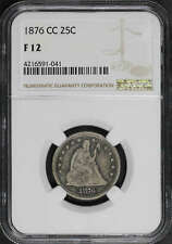 1876-CC Seated Liberty Silver Quarter NGC F-12 -148711