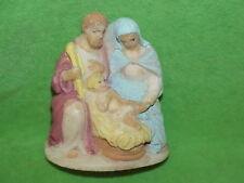 Vtg 1950s Christmas Nativity Scene Figurine Mary Joseph Jesus-Painted Alabaster?