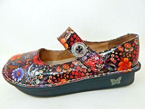 ALEGRIA PAL-323 Floral Leather Wedge Flat Mary Jane Shoes Sz:10 M US/40 EU