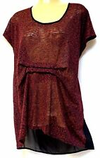 plus sz M / 18-20 TS TAKING SHAPE Beatnik Top pleat waist sheer back funky NWT!
